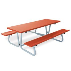 Aluminum Picnic Table with Umbrella Hole - 8 ft