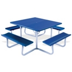 Square Aluminum Picnic Table with Umbrella Hole - 4 ft, 85835