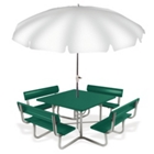 Aluminum Picnic Table with Backrest Benches and Umbrella Hole, 85836