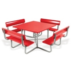 Square Aluminum Picnic Table with Backrest Benches, 85817