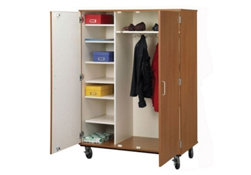 "Lockable Seven Shelf Mobile Teacher Wardrobe Cabinet - 67""H, 36260"