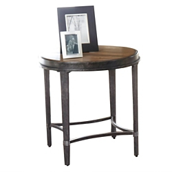 "Round End Table with Metal Base - 24""W, 46259"
