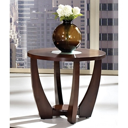 "Round End Table with Glass Insert - 25.5""DIA, 46264"