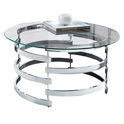 "Lattice Coffee Table with Glass Top - 35""DIA, 46266"