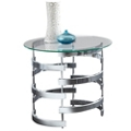 """Lattice End Table with Glass Top - 23""""DIA, 46267"""