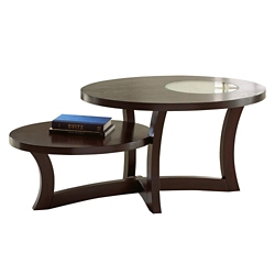 "Round Two Tier Coffee Table with Inlaid Glass Accent - 48""W, 46272"