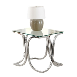 """Square Glass Top End Table with Curved Frame - 24""""W, 46279"""