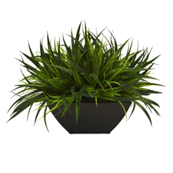 "Faux Potted Grass - 11""H, 82344"