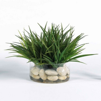 """Faux Grass in Glass Container - 12""""H, 82345"""