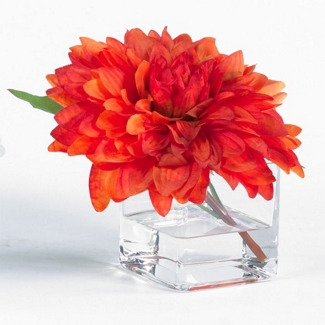 """Artificial Dahlia in Glass Container - 8""""H, 82349"""