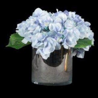 """Small Hydrangea In Glass Cylinder - 11""""H, 87697"""