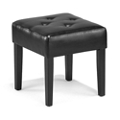 "Roosevelt Tufted Faux Leather Square Guest Bench - 17.32""W, 76219"