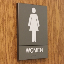 "Restroom Sign with ADA Raised Lettering and Braille - 6""W x 8""H, 87919"