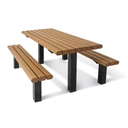 Surface Mounted Pedestal Table and Bench - 8 ft, 41792