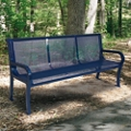 Plastic Coated Outdoor Perforated Bench with Back - 4'W, 82299