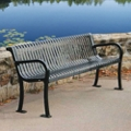 Plastic Coated Outdoor Bench with Slat Back - 4'W, 82301