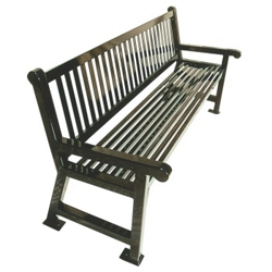 6' Plastic Coated Outdoor Bench with Slat Back, 85131