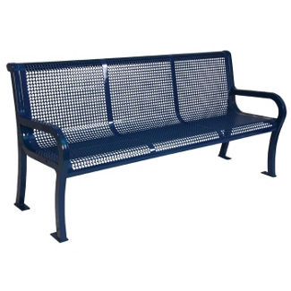 6' Plastic Coated Outdoor Perforated Bench with Back, 85135