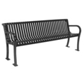 6' Plastic Coated Outdoor Bench with Slat Back, 85137