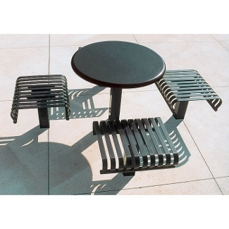 """Outdoor Breakroom with 4 Seats and 36"""" Round Table - Inground, 85144"""