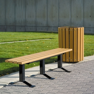 Recycled Plastic Lumber In-Ground Mount Backless Park Bench - 6 ft, 85953