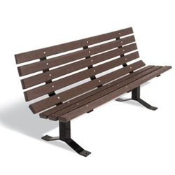 Recycled Plastic Lumber Surface Mount Park Bench - 6 ft, 85956