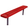 Backless In-Ground Mount Perforated Steel Bench - 10'W, 87861