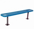 Backless Surface Mount Diamond Pattern Steel Bench - 6'W, 87865