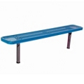 Backless In-Ground Mount Diamond Pattern Steel Bench - 6'W, 87866