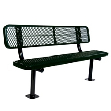 Surface Mount Diamond Pattern Steel Bench - 6'W, 87892