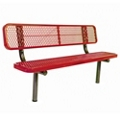 In-Ground Mount Diamond Pattern Steel Bench - 8'W, 87897