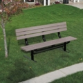 In-Ground Mount Recycled Plastic Lumber 8 ft Bench, 91984