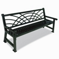 6 ft Galvanized Steel Bench with Back Design, 85391