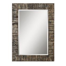 "44.75""H x 32.75""W Rectangular Bark Frame Mirror, 90020"