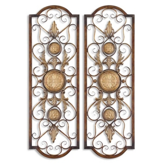 "14""W x 42""H Metal Wall Hangings - Set of Two, 90029"