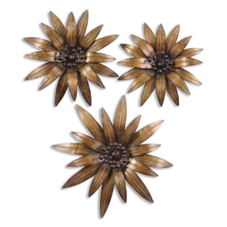 Decorative Hanging Metal Flowers - Set of Three, 90031