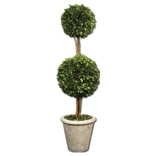 """Preserved Boxwood Double Sphere Topiary - 36""""H, 90107"""
