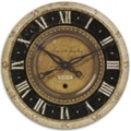 "27"" Antiqued Brass Hanging Clock, 87599"