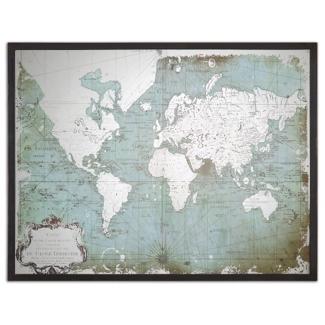 "Mirrored World Map 44""W x 33""H, 87742"