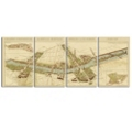 Map of Paris in 1936 Wall Art - Set of Four Panels, 87746
