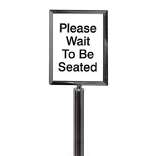 "Polished Chrome Sign Frame for Crowd Control Post-  11""W x 14""H, 87977"