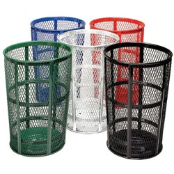 Perforated Steel Outdoor Waste Receptacle - 48 Gallon Capacity, 91110