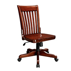 Slat Back Armless Wood Office Chair, 55617