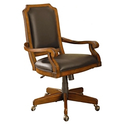 Wood Frame Computer Chair in Faux Leather, 55618