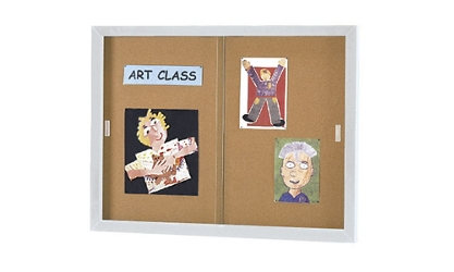 "48"" x 72"" Sliding Door Bulletin Board, 80737"