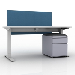 """Compact Height Adjustable Desk with Privacy Screen and Mobile File - 48""""W, 14141"""