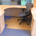 """Bamboo Tri-Fold Chair Mat with Lip - 47"""" x 51"""" x 12mm Thick, 54236"""