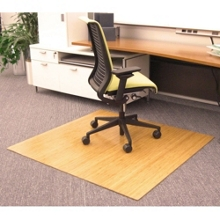 "Eco-Friendly Bamboo Wood Chair Mat - 48"" x 52"" x 5mm Thick, 54241"
