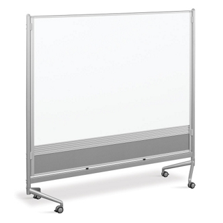 6'W x 6'H Dual Sided Mobile Whiteboard/Corkboard, 80293