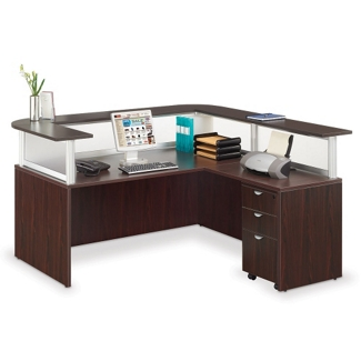 Reception L Desk with Pedestal, 75021